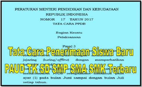 Tata Cara Penerimaan Siswa Baru PAUD TK SD SMP SMA SMK Terbaru