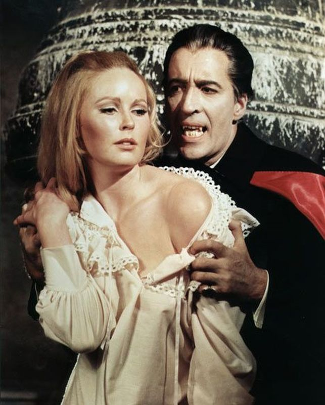 Veronica Carlson and Christopher Lee in 'Dracula Has Risen from the Grave'