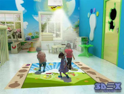 interactive floor projector for kids games and education, live system floor