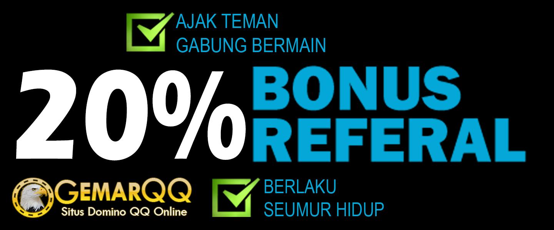 Promo Bonus GemarQQ Antara lain adalah Promo Bonus Cashback 0,5% dan Bonus Referral 20%