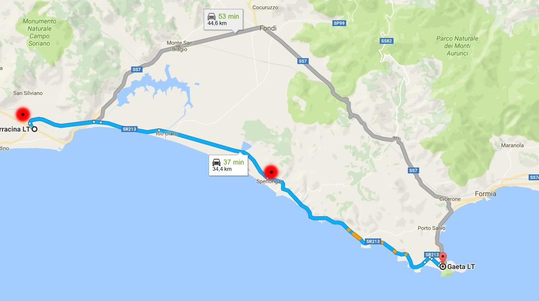 Mappa km terracina da sperlonga e Gaeta