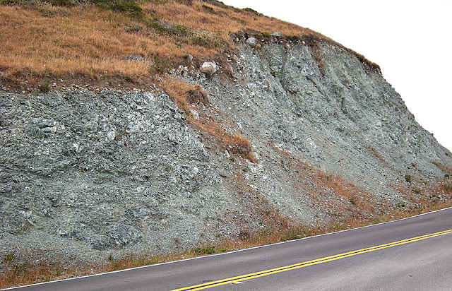 Blueschist in tectonic melange near the San Andreas fault.