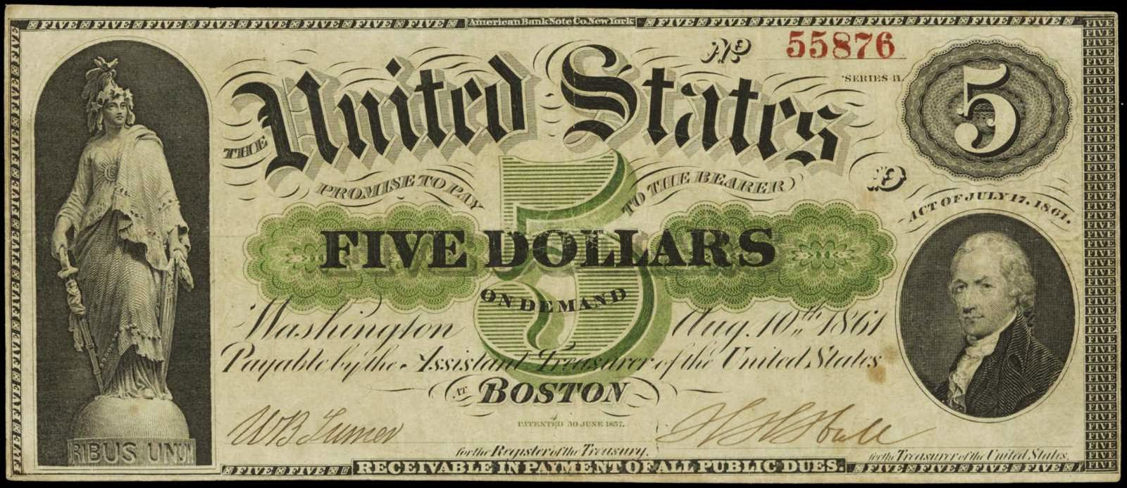 5 Dollar Demand Note 1861