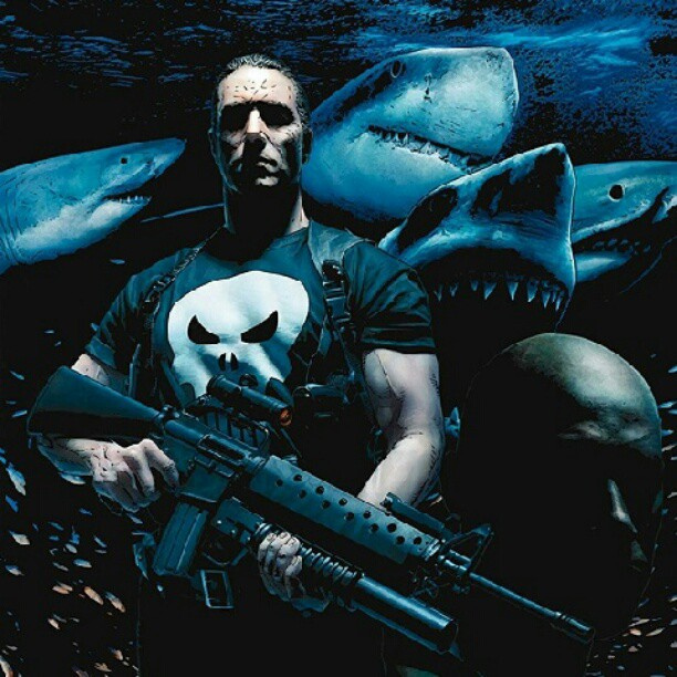 the punisher with sharks