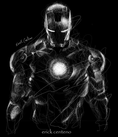 02-Iron-Man-Erick-Centeno-Superheroes-Celebrities-and-Cartoons-Scribble-Drawings-www-designstack-co