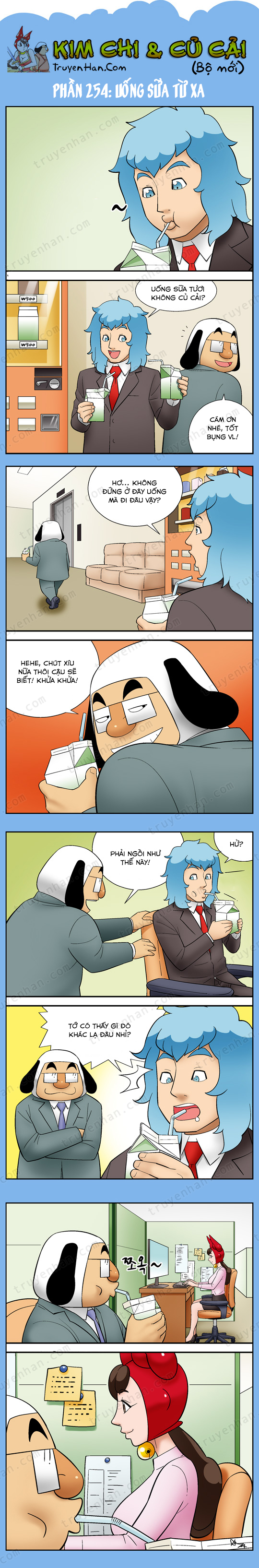 Kim Chi Và Củ Cải phần 254: Uống sữa từ xa