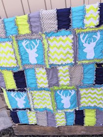 Girl Rag Quilt with Deer Silhoette for Baby Girl or Boy
