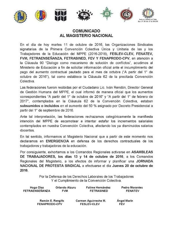 COMUNICADO AL MAGISTERIO NACIONAL SOBRE AUMENTO 17%. Federacion Venezolana de Maestros FVM