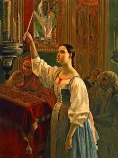 Михайлов Григорий Карпович Девушка, ставящая свечу перед образом