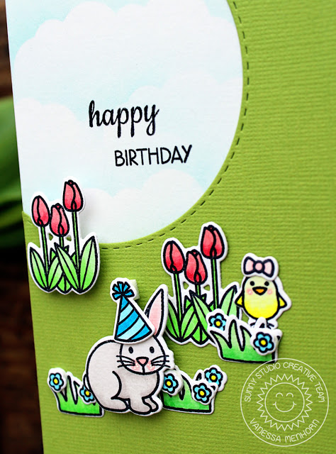 Sunny Studio Stamps: Easter Wishes Spring Birthday Card by Vanessa Menhorn