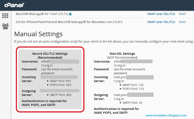 cpanel smtp manual setting details