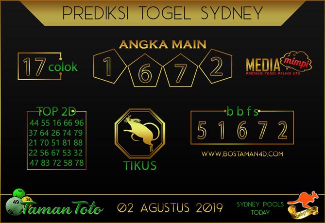 Prediksi Togel SYDNEY TAMAN TOTO 01 AGUSTUS 2019