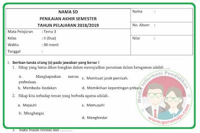 Soal UAS / PAS Kelas 2 Tema 3 Kurikulum 2013 Revisi 2018