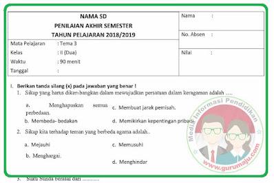 Soal UAS / PAS Kelas 2 Tema 3 Revisi 2021