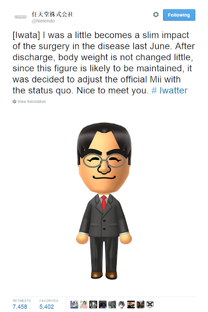 Satoru Iwata Mii change suit Nintendo after surgery lost weight