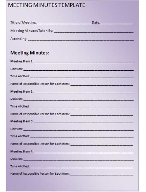 printable meeting minutes template - meetings template