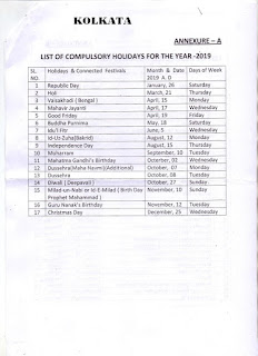 kolkata-list-of-gazetted-leave-2019
