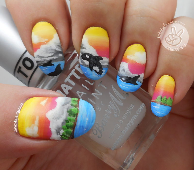 Freehand Mountain Scene And Orca Whales Ithinitybeauty Nail
