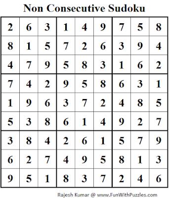 Non Consecutive Sudoku (Fun With Sudoku #89) Solution