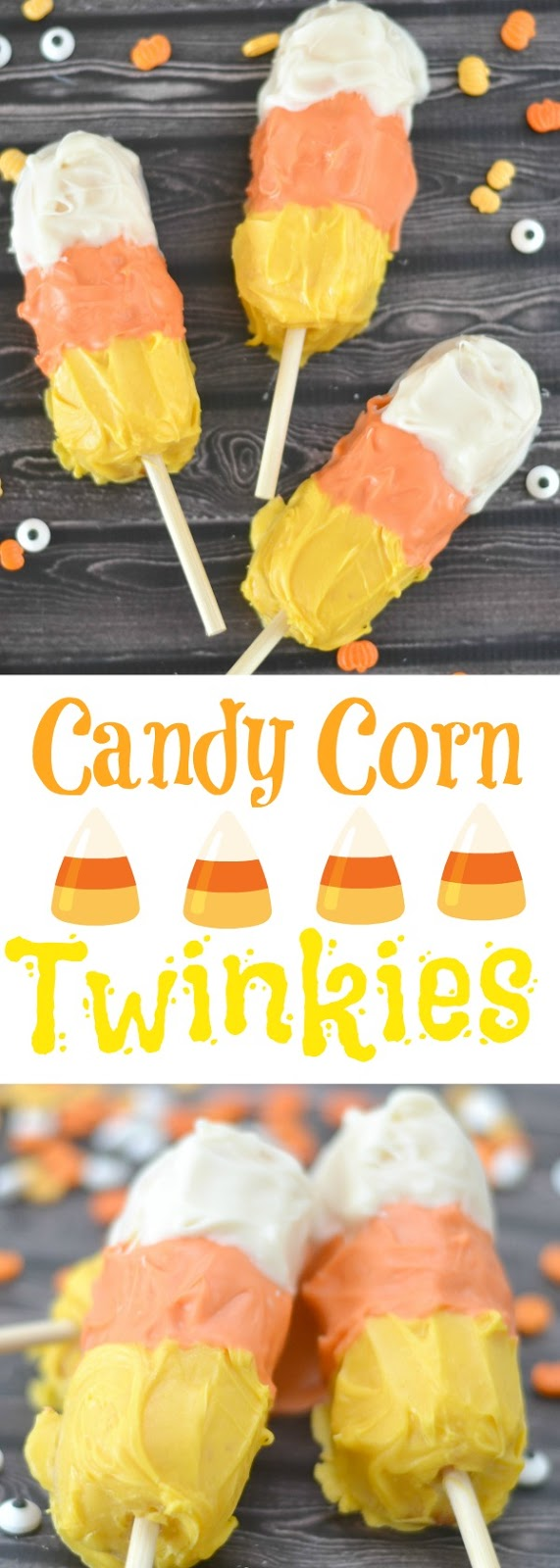 Candy Corn Twinkies, Halloween Twinkies, Halloween Treats, fun halloween desserts for kids, fun Halloween treats for kids, Halloween Party Food, Halloween Party, Halloween Food, Halloween party ideas