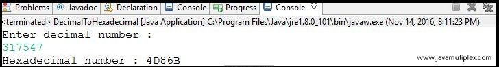 Output of Java program that converts decimal number to hexadecimal number.