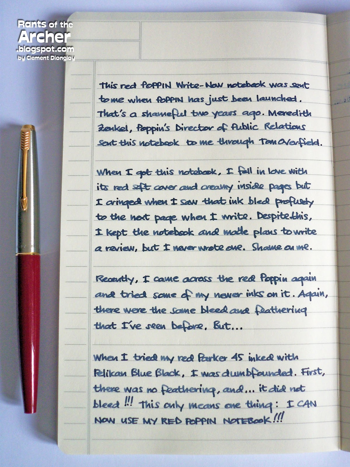 notebook review write now by poppin rants of the archer pelikan bb did not feather on this notebook s paper and did not bleed too there is show through and the tiny dots visible on this side of the paper are