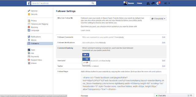 Facebook Followers Settings comment rank