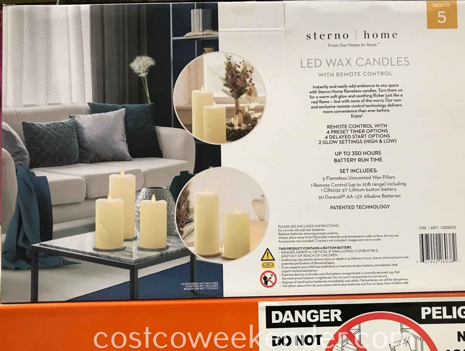 Costco 1309833 - Sterno Home 5-piece LED Wax Candles: safer than real candles