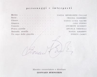 Leonard Bernstein - autografo su programma teatrale - collezionismo
