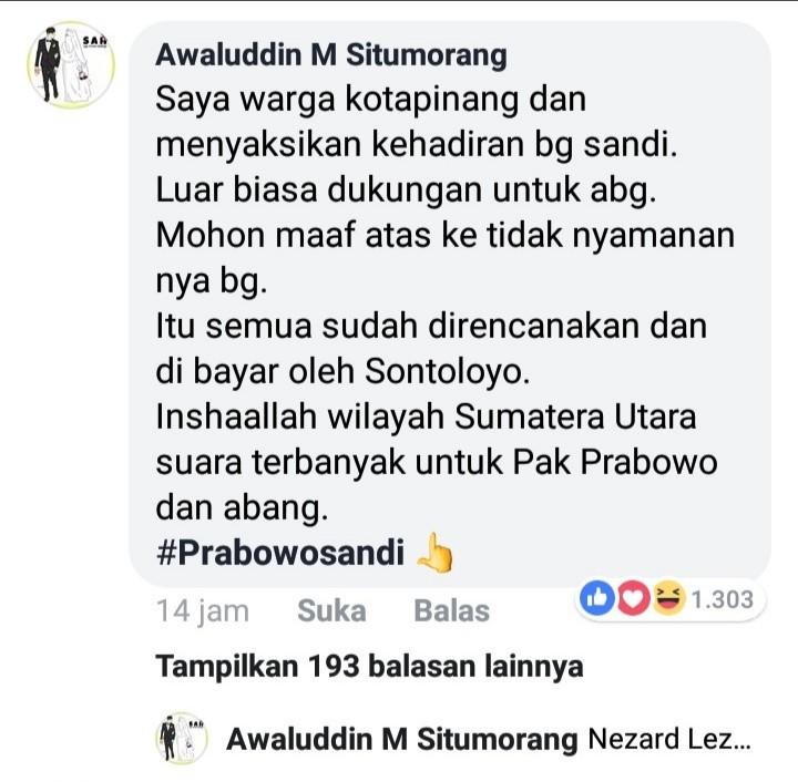 Diusir Pro Jokowi, Ini Pembelaan Membanggakan Warga Kota Pinang untuk Sandi