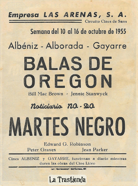 Programa de Cine - Martes Negro - Edward G. Robinson - Jean Parker - Peter Graves