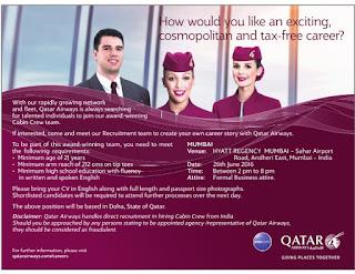 qatar airways cabin crew requirements 2016