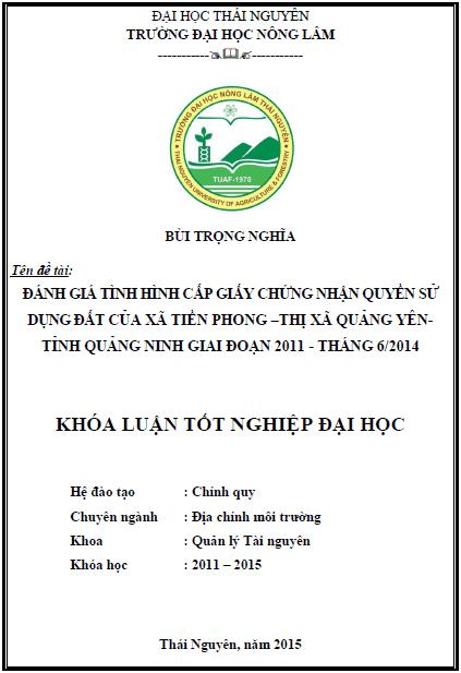 Đánh giá tình hình cấp giấy chứng nhận quyền sử dụng đất của xã Tiền Phong thị xã Quảng Yên tỉnh Quảng Ninh giai đoạn 2011 – tháng 6/2014