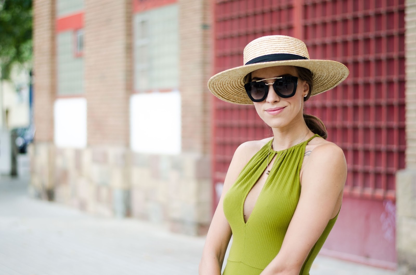 french connection straw hat prada sunglasses hm green bodysuit