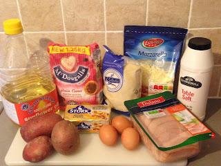 Bolitas de jamón deYork y mozzarella, ingredientes