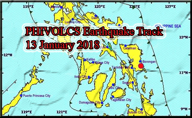 PHIVOLCS earthquake track for the 3.8 magnitude spotted today, 13 January 2018