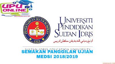 Semakan Panggilan Ujian MEdSI 2018/2019 Program ISMP