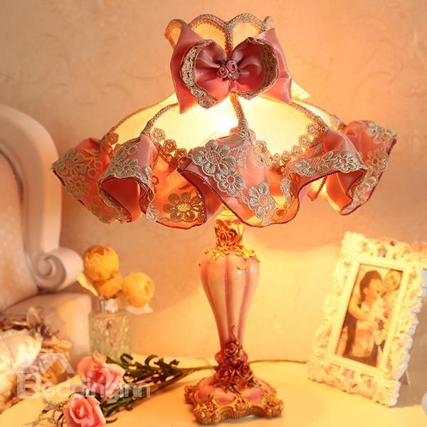 Beddinginn-Warm Pink Cloth Flower Pattern Decorative Princess Table Lamp