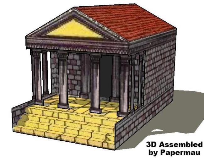 Papermau the greek temple vintage paper model by for How to make paper temple