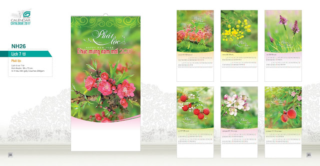 NH26 - Phát lộc , Lịch treo tường 7 tờ, in lịch, mẫu lịch hoa, mau lich phong thuy