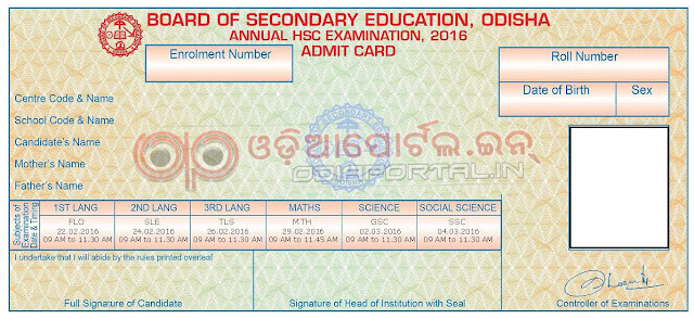 Odisha matric hsc exam 2016 online admit card hall ticket download admit card 2016 sample approx 950kb size of pdf per student yelopaper Image collections