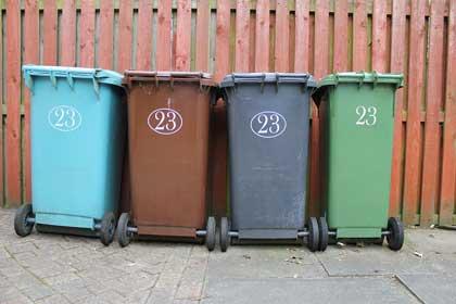 wheeled trash bin