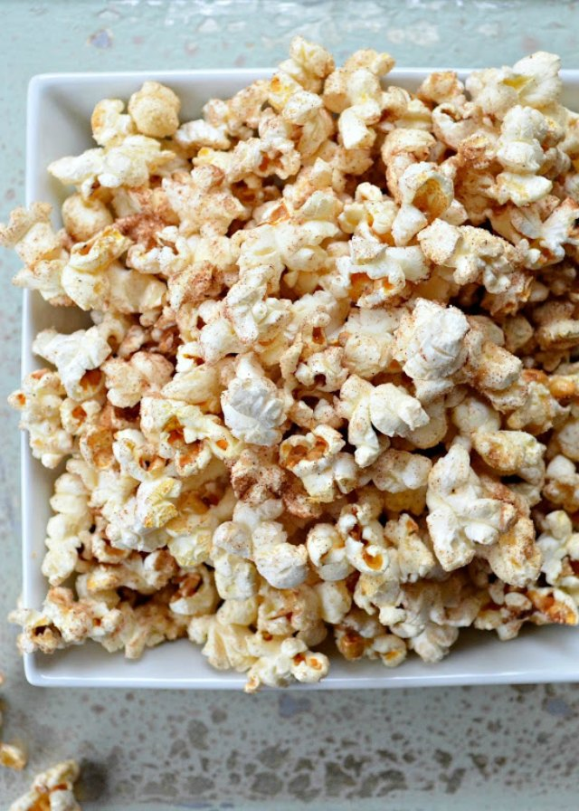 Cinnamon Sugar Popcorn is an easy to make snack or dessert from Serena Bakes Simply From Scratch.