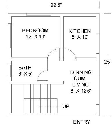 1 Bedroom House Plans #3
