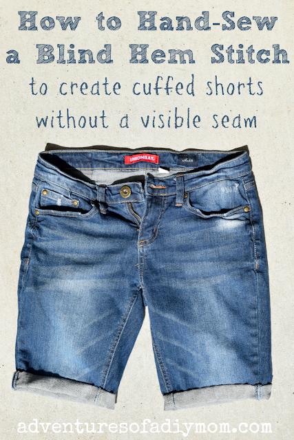 cuffed shorts made with a blind hem stitch
