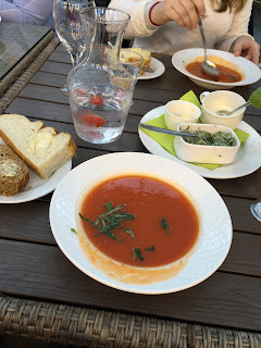 Yummy tomato soup and bread