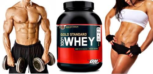 Proteína Whey de la marca ON con personas delgadas