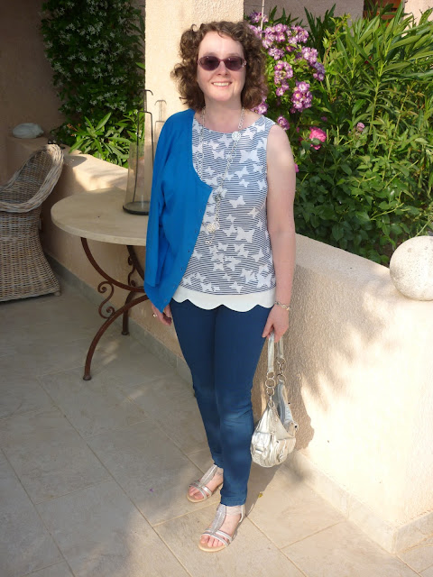 Full length shot Butterfly top, denim jeans and french blue cardigan