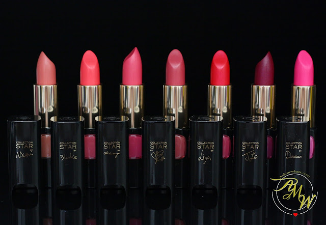 a photo of L'Oreal Color Riche Collection Star Velvet Pinks in Jasmine, Primrose, Camelia, Iris, Fuchsia, Nymphea and Rose Lotus