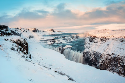 Frozen Gullfoss waterfall during winter in Iceland